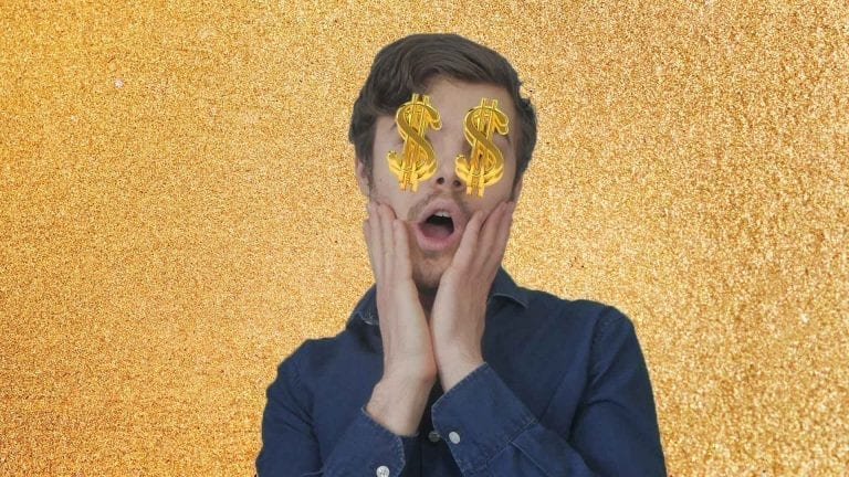 freelancers charge double, shocked with money signs covering eyes