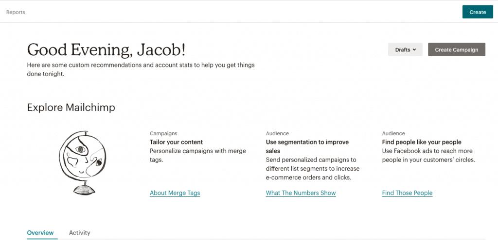 create a new campaign in mailchimp screenshot