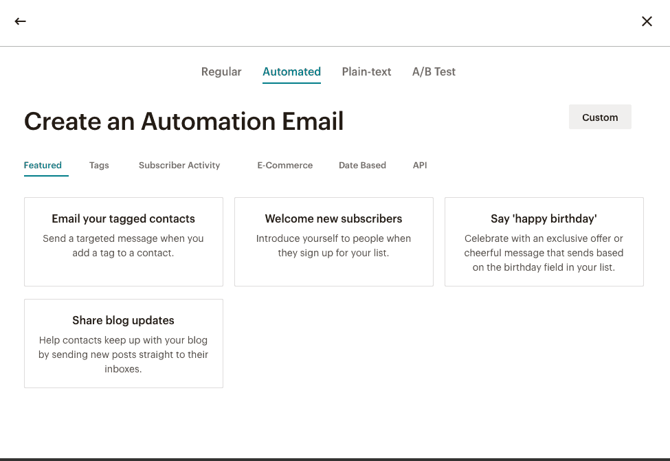 create an automation email in mailchimp