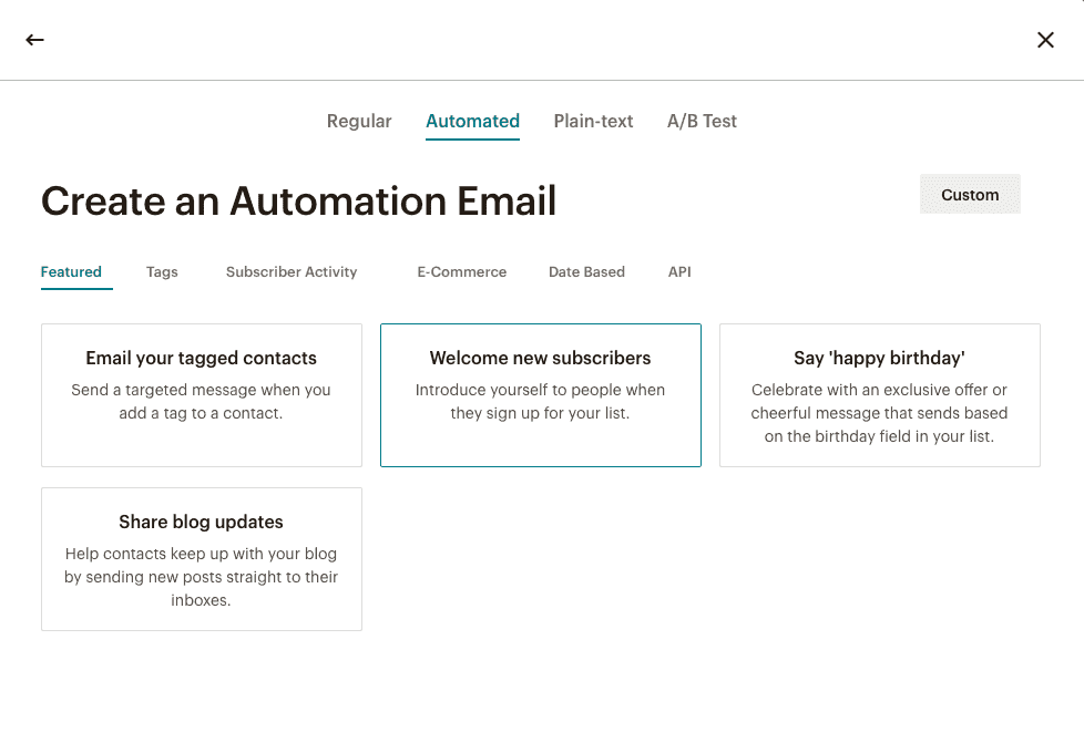welcome new subscribers in mailchimp