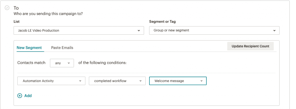 """You'll want to select """"Automation Activity"""", then """"Completed message"""" for your onboarding series."""