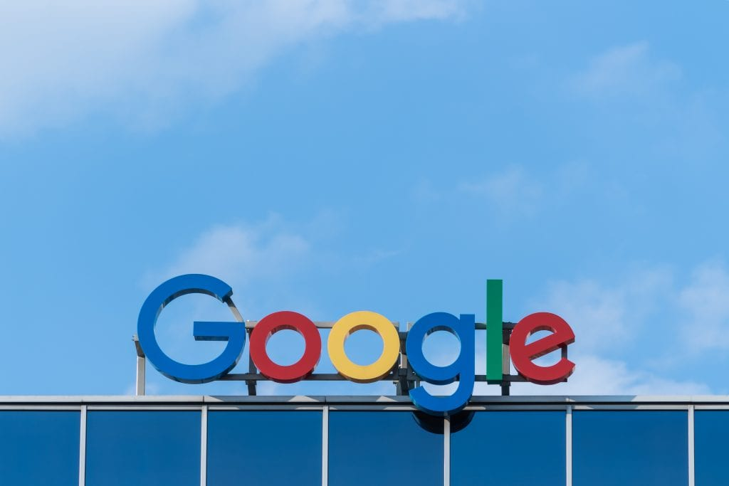 google has 66 percent of searches, a photo of the 2019 google sign