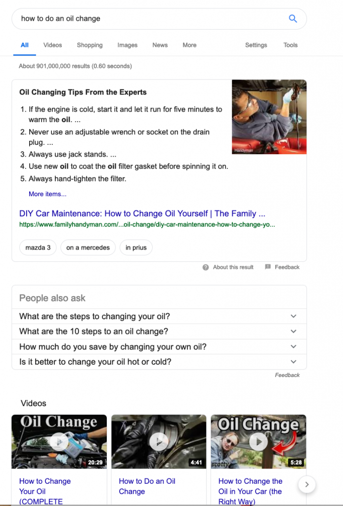 Google search results for how to do an oil change