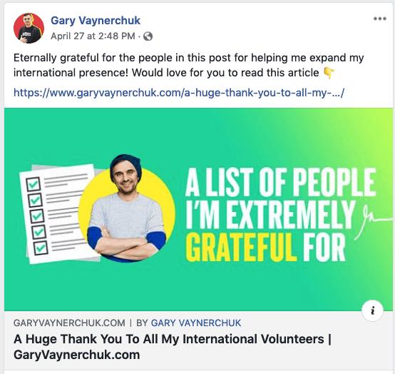 Gary Vaynerchuck link post on facebook