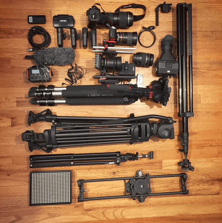 a camera equipment grid