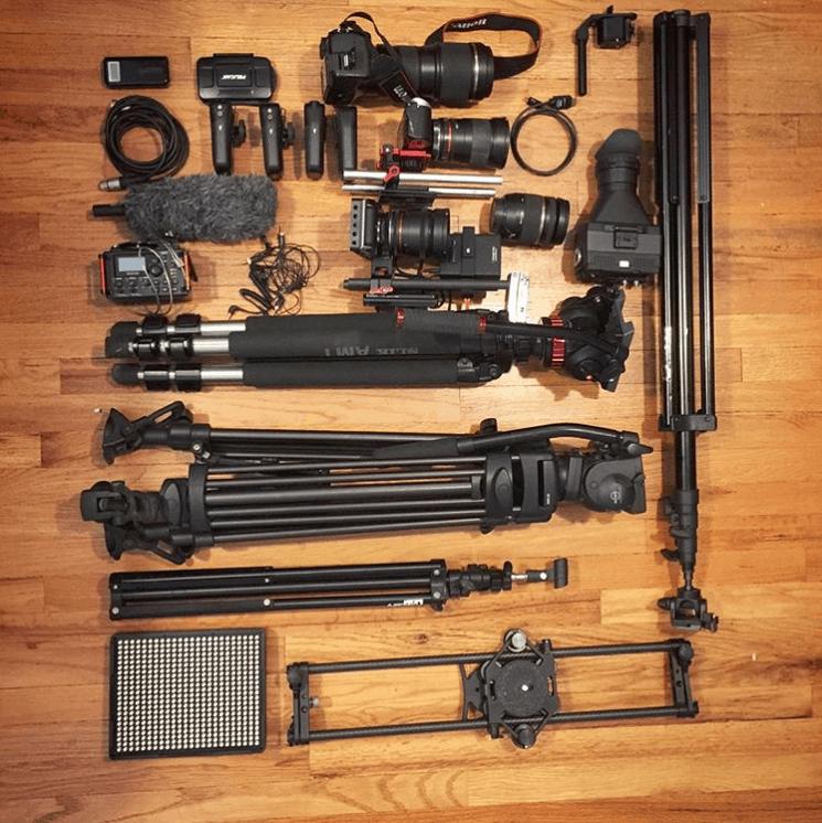 a camera equipment grid