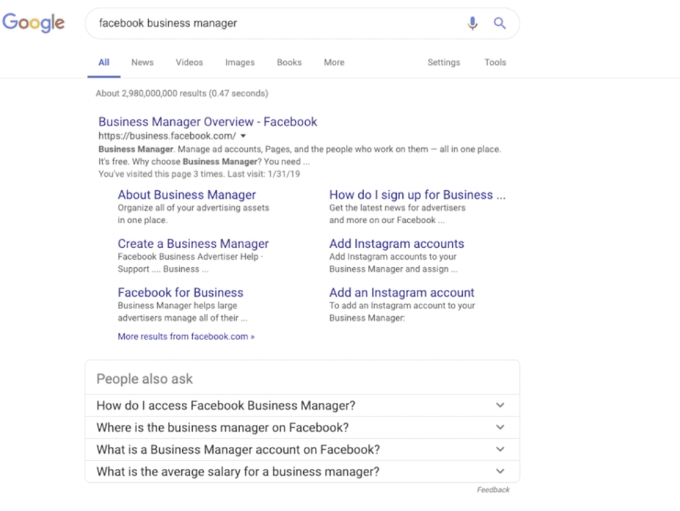 search for Facebook Business manager to sign in