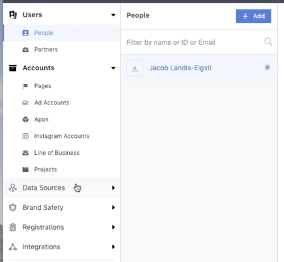 Click on data sources to access the Facebook pixel