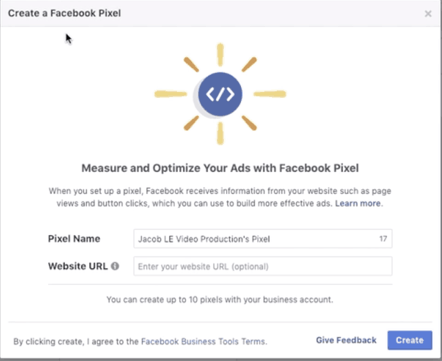 Give your Facebook pixel a name and website url