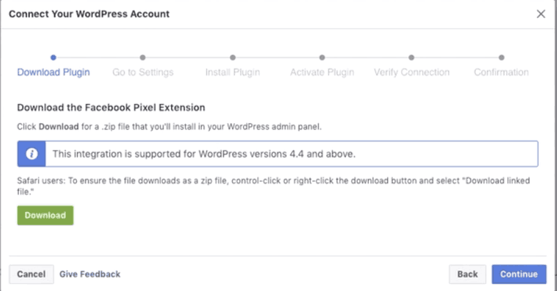 Connect to your wordpress account: download plugin