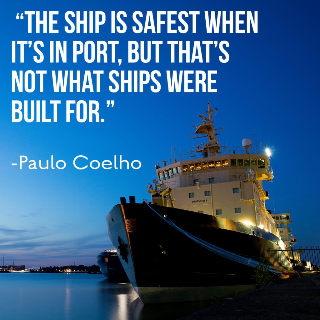 Sales training motivation, a boat in the harbor